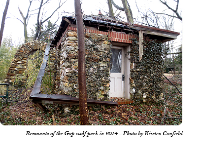 The remnants of the stone archway and ticket booth at the entrance to Dr. McCleery's wolf park between Gap and Coatesville, PA as of 2014. Photo by Kirsten Canfield.