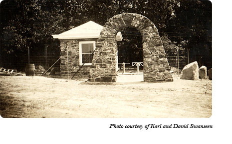 The stone archway and ticket booth at the entrance to Dr. McCleery's wolf park between Gap and Coatesville, PA. Photo courtesy of Karl and David Swanseen.