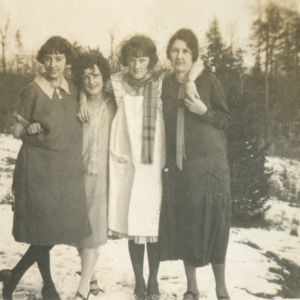 Four Women in Front of the Wolf Pens [Photograph]