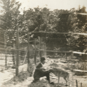 Dr. McCleery with a Wolf at the Lobo Wolf Park in Kane [Photograph]