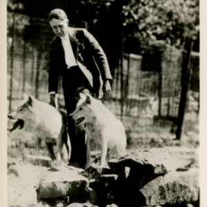Dr. McCleery with Two Wolves at the Lobo Wolf Park in Kane [Postcard]