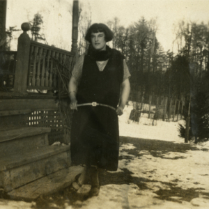 Margaret Jones in Front of the Wolf Pens [Photograph]
